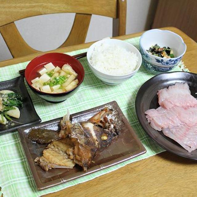 キジハタの刺身・あら煮と長芋とほうれん草の炒めものとはんぺんの梅しそ和えでうちごはん(レシピ付)