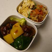お弁当(ミニハンバーグ・ウスタートマトソース)(豆腐&小ネギ入りカレー風味炒り卵)