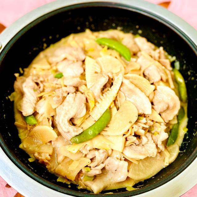筍と大根と豚バラスライスの花椒でピリッと中華炒め♡スパイスで減塩♪