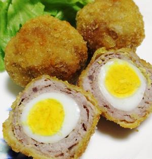 豚こまとうずら卵のスコッチエッグ