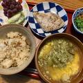 【舞茸ご飯定食】【みょうがの卵とじ汁】【長芋と納豆とオクラのねばねば小鉢】