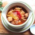 キャベツと鶏肉と舞茸と玉ねぎのピリリと辛いミネストローネ