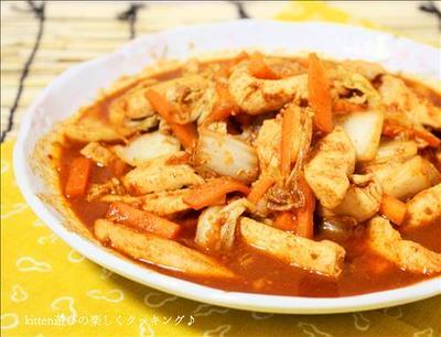 白菜と鶏肉のガーリックコチュジャン炒め