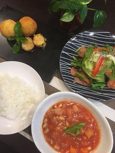 トマトジュースで簡単ミネストローネスープ・大豆も加えて栄養価アップ!!