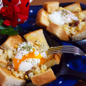即席エッグスラット風オープントースト*ポテトサラダ*温泉卵