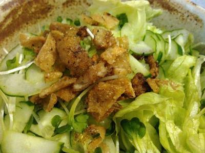 烏賊刺し、ゲソのアヒージョ風、鶏皮サラダ、夏野菜ともも肉のグラタン