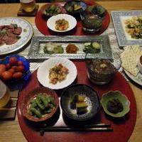 7/17の晩ごはん ゴーヤチャンプルーとチリビーンズとお野菜小鉢色々と