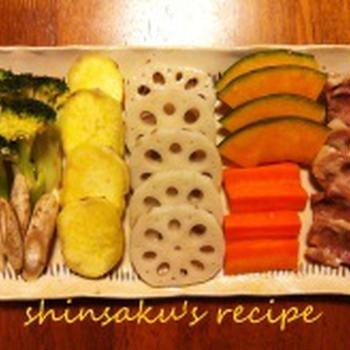 あっさり塩味の蒸野菜