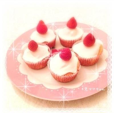 簡単・HMで卵なしカップケーキ(練乳アイシング)☆レシピ & 運動会弁当