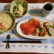 潰瘍性大腸炎の食事 漬けマグロ丼とマヨなしポテトサラダ