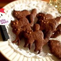 ハロウィンに♪シナモンチョコ猫クッキーとジンジャーアーモンド妖怪クッキー
