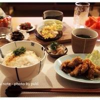雑穀米と常備菜でヘルシー夜ごはん。