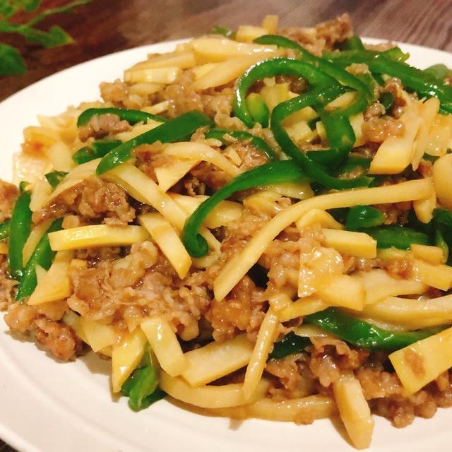 旬のたけのこで青椒肉絲 チンジャオロース 牛肉と筍、ピーマンの炒め物