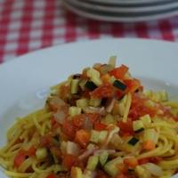 電子レンジで簡単「いろいろお野菜のカレー風味パスタ」