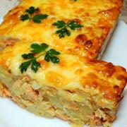 サーモンとじゃが芋のチーズ焼き♪ タコとスイカのサラダ☆金魚さんのつくレポ~♡