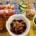 オクラとねぎ、椎茸の梅肉和え~ビーツとフライドオニオン by Cookieさん