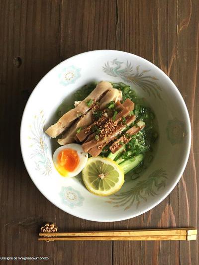 メンマ完成記念・鶏塩翡翠冷麺。