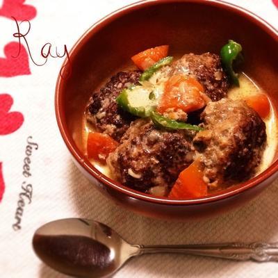 柔らかジューシー♡肉豆腐団子のクリーム煮