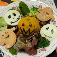 Halloweenサラダとかぼちゃ餃子