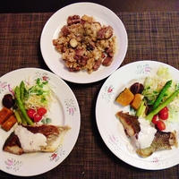 お肉とお魚でちょっぴり豪華な晩御飯☆ステーキ炒飯♪☆♪☆♪