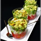 トマト&アボカド&モッツァレラチーズのサラダ柚子胡椒ソース