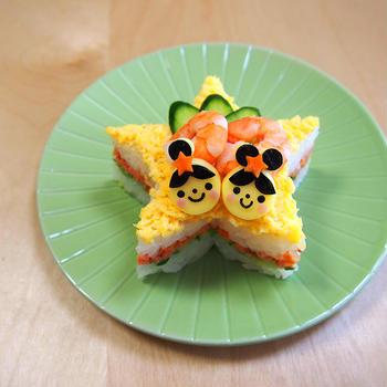 七夕ごはん☆お星さまの押し寿司