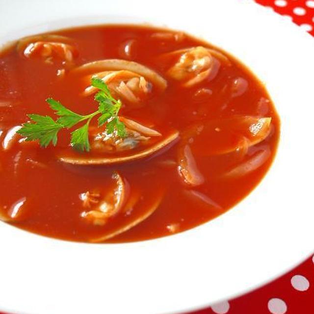 あさりのトマトチャウダー♪レンジで簡単!トマトジュース活用レシピ