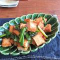 フライパン1つで簡単調理☆厚揚げとねぎの生姜ポン酢炒め