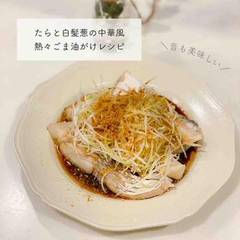【レシピ】たらと白髪葱の中華風、熱々ごま油がけ