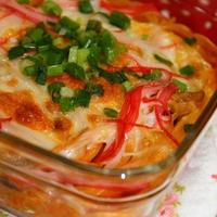 蟹のトマトクリーム焼きパスタ