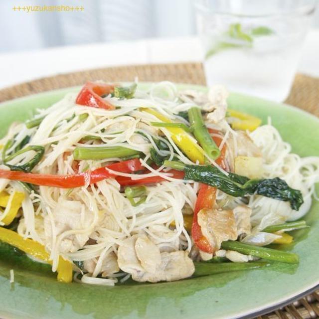 夏野菜と豚肉のスパイシービーフン*8月18日ビーフンの日