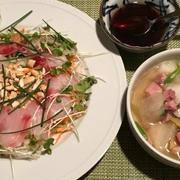 冬瓜とハムのスープ&中華風お刺身サラダ