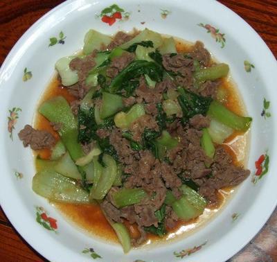 牛肉と青梗菜のオイスターソース炒め&鱈の甘酢あんかけ