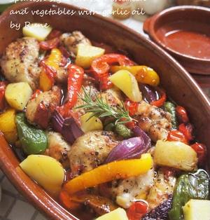 スペインの煮もの 骨付きチキンと野菜のガーリック煮