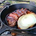 スキレットで厚切り肉を焼いてみた