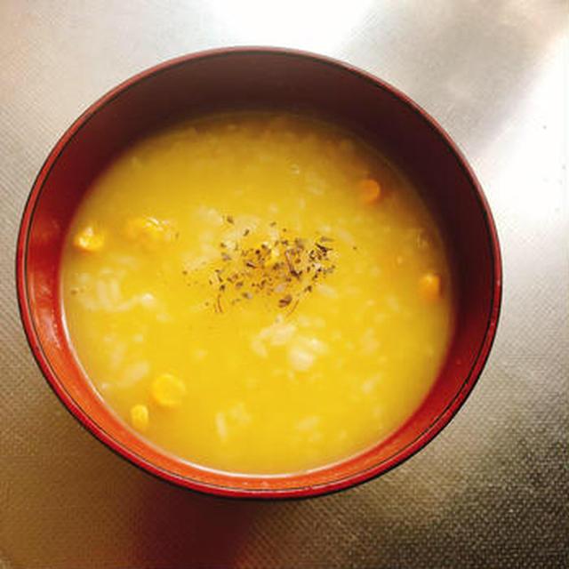 簡単朝食!子供もパクパク コーンスープに入れるだけリゾット#手抜き