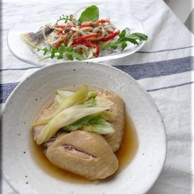 鶏手羽先と白菜のとろとろ煮といわしのレモンマリネ