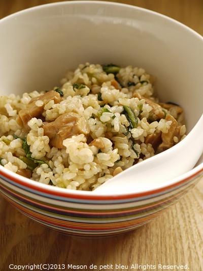 テンペとホウレン草の照り焼き風玄米炒飯