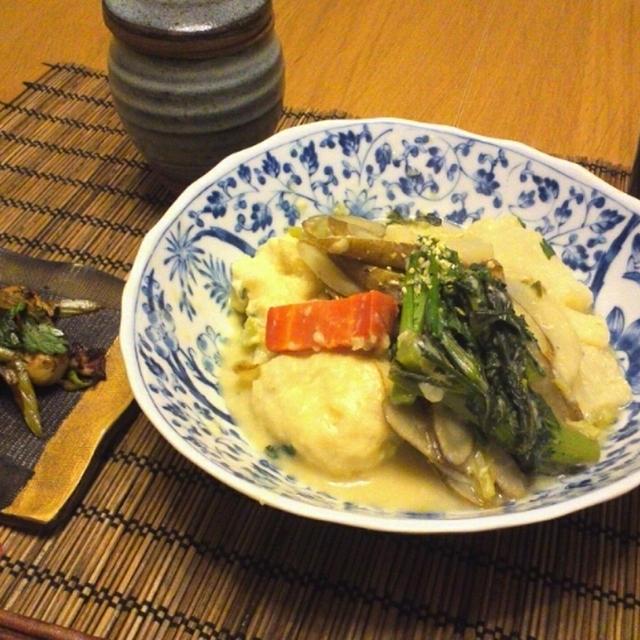 根菜と春菊の白味噌煮