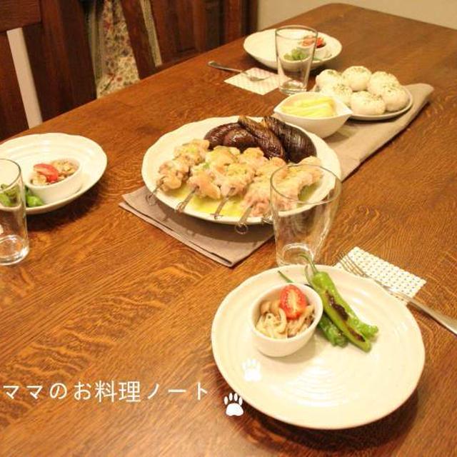チキンの串焼きバジルソースのごちそう晩ごはん☆