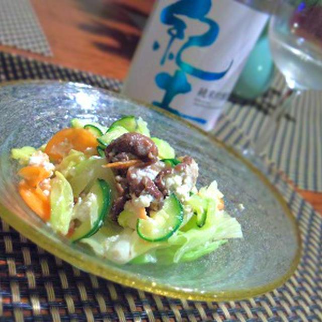 玉蜀黍のヴィシソワーズ、ばい貝のソテーを浮かべて、鯖のリエットポーチドエッグ添え