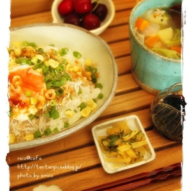 ☆簡単☆ 温玉&雑魚のカリカリ丼ランチ