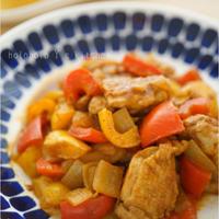 おつまみスタイル!鶏肉とパプリカのカレー炒め煮