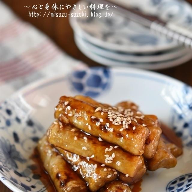 【レシピ・副菜・作り置き・お弁当おかず】食べごたえがあるやみつきごぼうの甘辛照り焼き