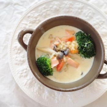 サラダ用ブラウンライスでモリモリ食べるスープ☆