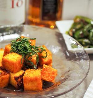和洋折衷♪味噌とコチュジャンで焼いて美味しい甘辛厚揚げ豆腐