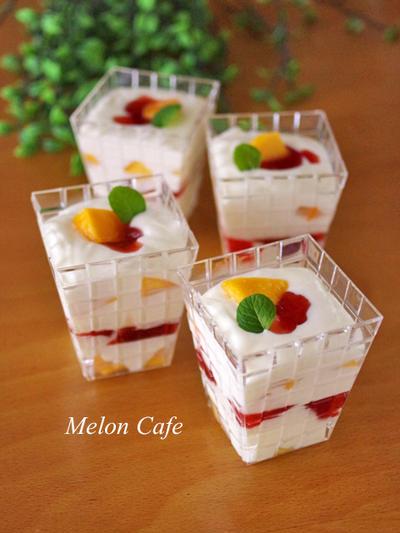 【レシピ】混ぜて冷やすだけ♪簡単クリームチーズパフェ☆Suipa.の容器モニター「PS シャイン」