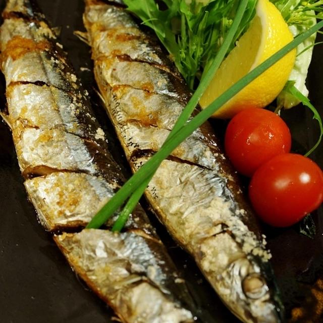 【秋刀魚の塩焼き/ハマグリの澄まし汁で大根粥です♪】晩ご飯です。
