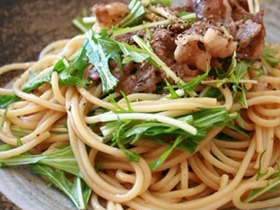 >牛肉と水菜のパスタ by キャラメリーナさん