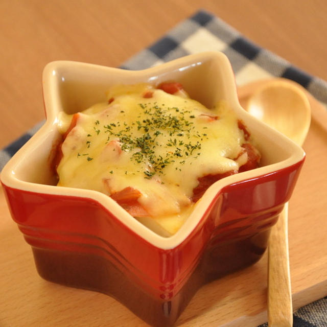 節約!厚揚げとハムのトマトチーズ焼き
